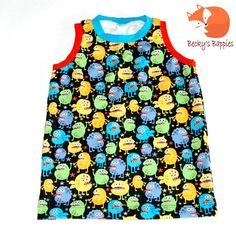 Vest Singlet Tank top Monster Cotton Jersey by BeckysBappies Tank Man, Vest, Trending Outfits, Tank Tops, How To Make, Cotton, Fashion, Moda, Halter Tops