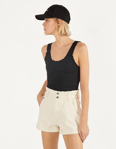 Shorts with elastic waistband and belt loops - null - Bershka United Kingdom Fashion News, Latest Fashion, Cream Shorts, Open Back Top, Shoe Collection, Bermuda Shorts, Latest Trends, Short Dresses, Clothes
