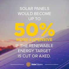 """Is this what the government wants?  If it gets it's way and cuts or axes the Renewable Energy Target the cost of solar panels would rise by up to 50%!   SIGN the Keep Solar Strong petition and tell the government to protect the Renewable Energy Target and Australian solar: solarcitizens.org.au/protecttheret   Source: SMH """"Cost of solar panels to rise by half if target chopped"""" 28.9.14"""