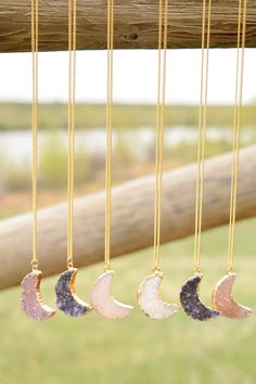 Druzy Moon Short Necklace