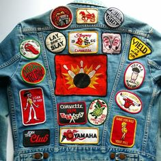 "Well worn denim jacket has tons of personality. The large bowling patch is an original from the 60s/70s! Some of the patches include -80s ""Harley Davidson Motor Cycles"". Length: 22"". -70s Mother Trucker. 