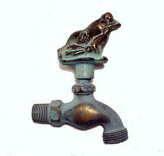 Solid Brass Outdoor Water Faucet Garden Hose Spigot with Frog Knob. Simply Charming Patio or Garden Decor!