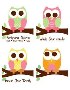Set of 4 8x10 prints Bathroom Rules Owl Prints goes well with Circo Love n Nature bathroom set. $35.00, via Etsy.