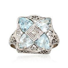 C. 1950 Vintage 2.00 Carat Aquamarine Ring With Diamond in 14kt White Gold. Size 7