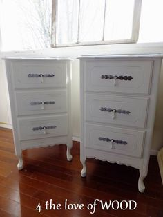 Shabby chic white bedside tables 4 the love of wood: HAVE YOU SEEN THE EASTER BUNNY - pair of nightstands