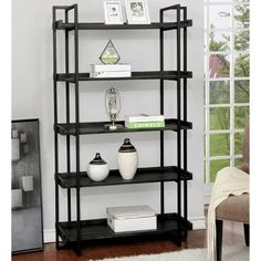 17 Stories Add organized storage and display space to an entry or living area with this lovely five-tier shelf. Easily hosting books or decorative treasures, the shelf boasts a rich black finish with raised shelf edges and metal framework. 5 Shelf Bookcase, Etagere Bookcase, Book Shelves, Bookcases, Black Ladder Shelf, Living Room Furniture, Home Furniture, Rustic Colors, Wooden Shelves