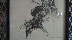 "Vintage Guillermo ""Gmo"" Acevedo Pervuvian Black ink women print #Vintage"