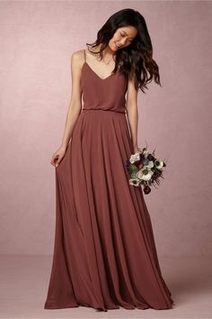 airy chiffon bridesmaid dress | Inesse Dress in Cinnamon Rose from BHLDN