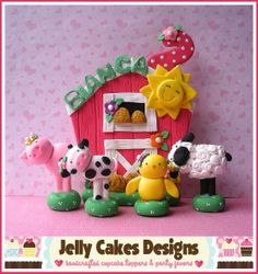 Sweet Pea Farm keepsake cake topper set by jellycakesdesigns, $65.00