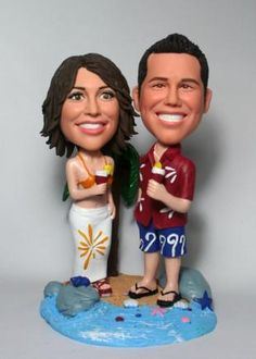 Custom Couple Figurines with palm tree - custom cake toppers personalized make from your own photos, top level custom cake toppers for wedding, anniversary and any occasions. Custom Wedding Cake Toppers, Wedding Cakes, Polymer Clay People, Hawaiian Theme, Best Friend Wedding, Bobble Head, Anniversary Gifts, Dolls, Couples