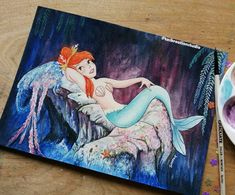 """Tas KreationStudio on Instagram: """"*SOLD* Original Disney Watercolour Neverland Mermaid 😁 perfect piece for the first day of #mermay This is a collab with @torisdrawing93 and…"""" Disney Watercolour, Disney Animated Movies, Disney Animation, Neverland, Mermaid, The Originals, Day, Painting, Instagram"""
