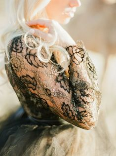 Black and gold lace wedding dress | Leighanne Herr | see more on: http://burnettsboards.com/2015/09/black-gold-wedding-inspiration-rugged-west-texas/