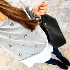 IG @mrscasual <click through to shop this look> Jeweled 2 in 1 top.  Maternity skinny jeans.  Vince Camuto ankle booties.  Tory Burch Perry tote.