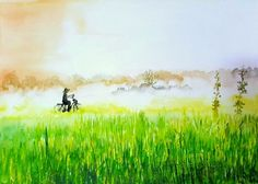 """Cycling"" a water colour painting by Bhanupratap Khare"