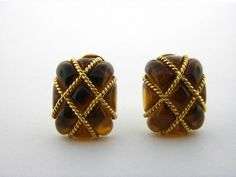 Vintage Seaman Schepps 18K Yellow Gold Amber Cage Earrings.  #SeamanSchepps #Stud