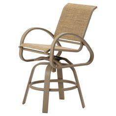 Outdoor Telescope Casual Aruba II Sling Counter Swivel Cafe Chair Textured Graphite Pistachio - Grade A - 7A8T-823