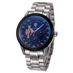 TEVISE Excellent Skeleton Automatic Men Mechanical Watch Luminous 3ATM Water-resistant Business Men Wristwatch with 2 Dials