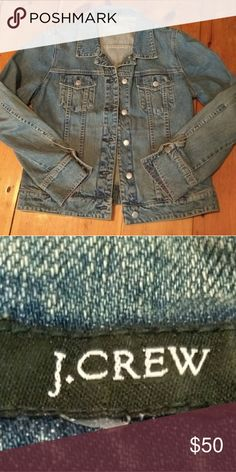Vintage J crew denim jacket Vintage J crew denim jacket size large, button-front, for pockets, button dress and waist well-loved and super cute. J. Crew Jackets & Coats Jean Jackets