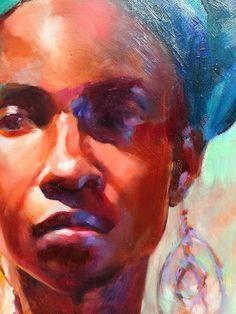 Detail  - portrait of Mona, oil painting by Kristina Laurendi Havens