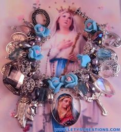 """Mother's Sorrows"" Catholic Virgin Mary, Saints Religious Medals Charm Bracelet www.letyscreations.com"