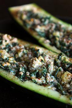 Cheesy Kale and Turkey stuffed Zucchini Boats recipe- Lunch #freezercooking #zucchini #diet