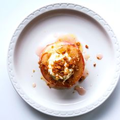 Roasted Peaches with Ricotta Buttercream and Breadcrumbs Recipe
