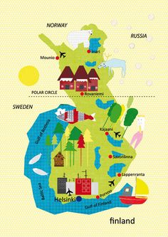 Finland Map Illustration size A4 118x83 inches by petrapanfilova, $12.00
