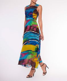This Blue & Yellow Watercolor Empire-Waist Dress is perfect! #zulilyfinds