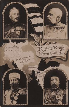 Wilhelm, Franz Joseph, I.Ferdinand, Sultan Mehmed Reshad, the German banner distributed during the war. Ottoman Empire, Political Cartoons, World War I, Wwi, Cool Artwork, Drawing S, Sketches, Germany, Fine Art