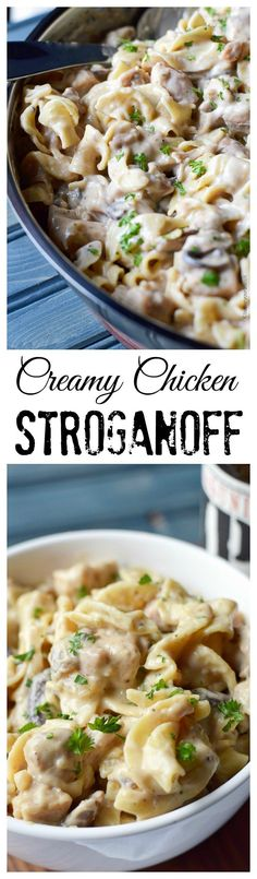 This Creamy Chicken Stroganoff is loaded with chicken and mushrooms with a rich and creamy sauce. #chickenrecipe