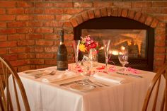 Special anniversary fireplace table setting.