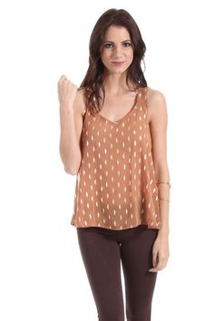$16 Color in Motion Sheer Top with Silver Spots in Brown : Tops