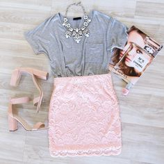 pink lace skirt trendy outfit