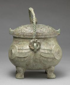 Covered Ritual Wine Vessel (You) in the Form of Two Addorsed Owls, 14th cent. BC - 11th cent. BC Vessel Chinese , 14th-11th century BC Shang dynasty, c. 16th-11th century BC