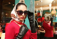 Head scarf, wrapped at neck Long Gloves, Women's Gloves, Hijab Fashion Inspiration, Black Leather Gloves, Girl Hijab, Vintage Scarf, How To Wear Scarves, Muslim Women, Silk Scarves