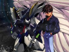 Mobile Suit Gundam Wing - Wing Gundam Zero and Heero Yuy Gundam Wing, Gundam Art, Heero Yuy, Diabolik Lovers, Mobile Suit, Zero, Wings, Cartoon, Anime