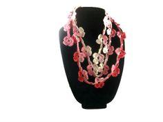 Crochet lariat scarf, Pink flowers, fashion scarf, necklace,   spring scarf, Eco Friendly Scarf
