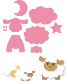 Marianne Design - Die - Collectables - Eline`s sheep Felt Patterns, Applique Patterns, Craft Patterns, Felt Crafts, Diy And Crafts, Crafts For Kids, Decoration Creche, Marianne Design, Punch Art