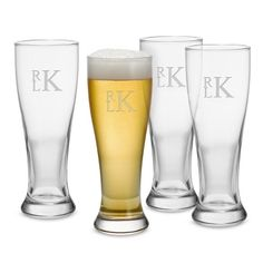 Personalized 16 oz Pilsner Glass Sets with Monogram , Add Your Message