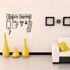 Before Leaving Vinyl – Black - DripDrop Wall art - Maybe in a kids room with hooks so they have a place for their coat, bookbag, lunchbox, etc Fresh Outfits, Vinyls, Vinyl Art, Buy Shoes, Love And Light, Best Brand, Art Decor, Fashion Online, Kids Room