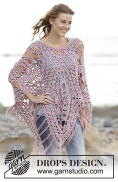 "#Crochet DROPS poncho with lace pattern in squares in 2 strands ""Belle"". Free Pattern"