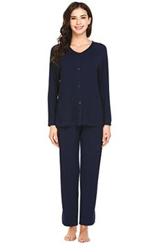 Ekouaer Womens Pajamas Set Button Down Long Sleeve PJS Top and Pants  Sleepwear 154696744