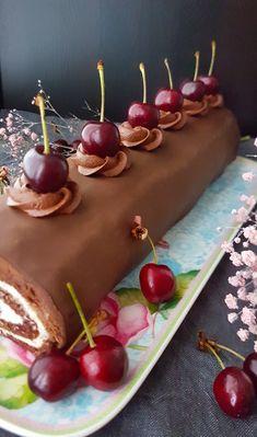Schwarzwaldin kääretorttu | Maku Balela Salad Recipe, Cake Cookies, Cupcake Cakes, Finnish Recipes, K Food, Different Cakes, Brownie Cake, Healthy Treats, Caramel Apples