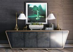 Top-20-Modern-Sideboards. Contemporary dark sideboard. Beautiful modern lamps. Very classy entryway design. For more inspirational news: http://www.bocadolobo.com/en/inspiration-and-ideas
