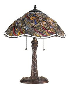 23.5 Inch H Spiral Dragonfly W/ Twisted Fly Mosaic Base Table Lamp
