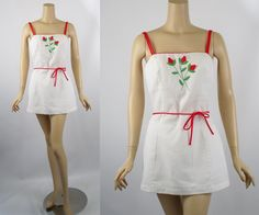 1970s Gabar Skirted Swimsuit White w/ Red and by alleycatsvintage