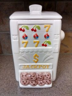 White Ceramic Casino Slot Machine Jackpot Cookie Jar NIB