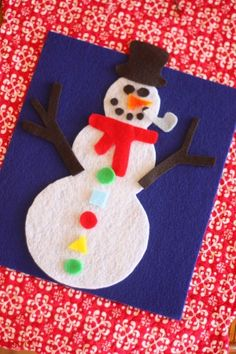 Template for Build Your Own Snowman. Pre-cut snowman felt pieces and assemble in a bag. Makes a great gift to entertain young children on cold, snowy days.