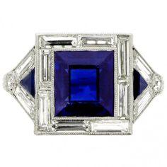 Something Borrowed, Something Blue- statement sapphire art deco ring
