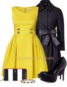 """""""Cotton Sleeveless Dress & Wool Bow Coat"""" by casuality on Polyvore"""